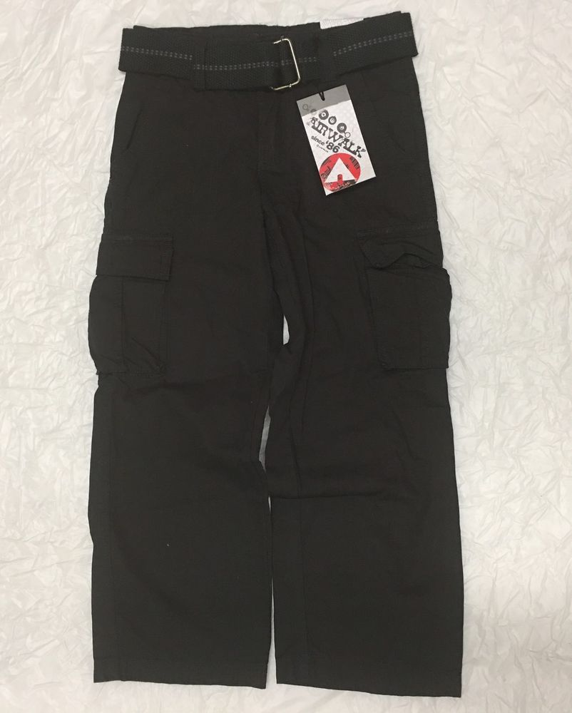 AIRWALK Boys Skate Cargo Pants w  Belt Black Size 8 Small 21.5