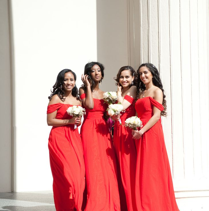 Red Off-Shoulder Bridesmaid Dresses