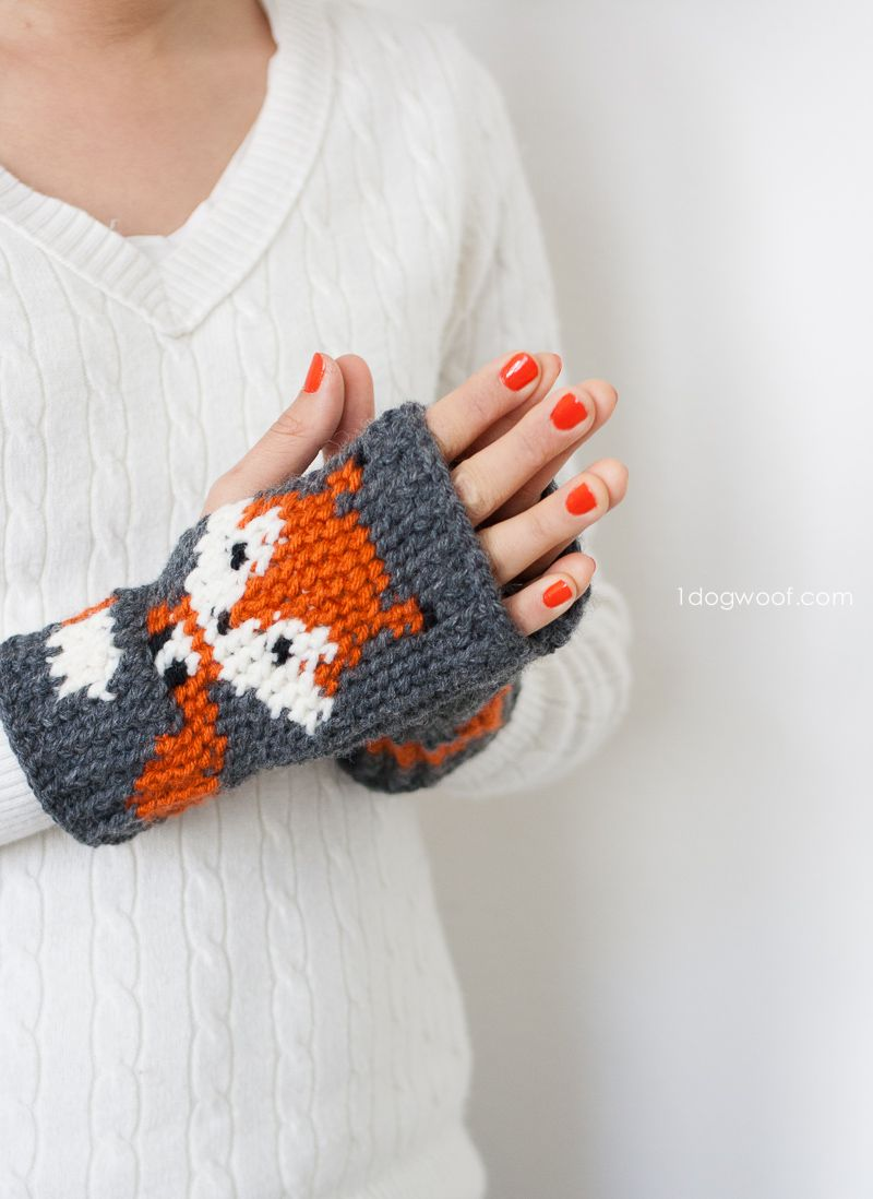 Fox Fingerless Gloves Crochet Pattern | Pinterest | Häkeln ...