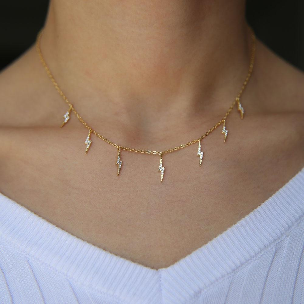 Photo of CHARM NECKLACE 2018 Statement chain choker charm lovely cz lightning gold filled top quality summer necklace for lady women