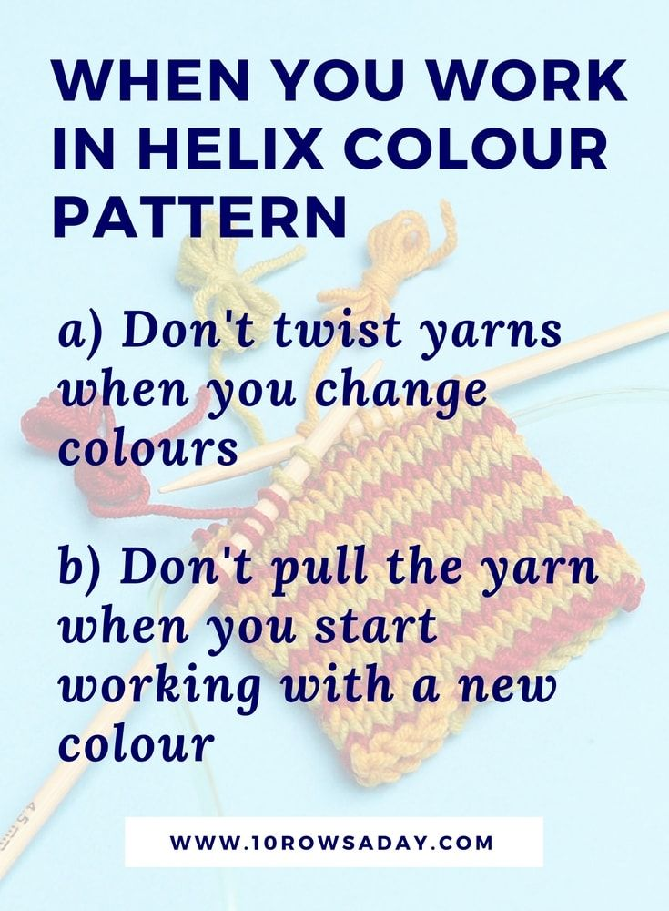 How to knit jogless one row stripes in the round - Helix Knitting ...