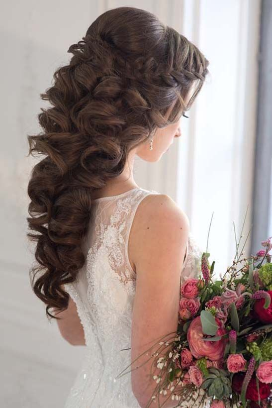 Quinceanera Hairstyles On The Side : Beautiful partial updo with tiara. flowing curls in back. hair