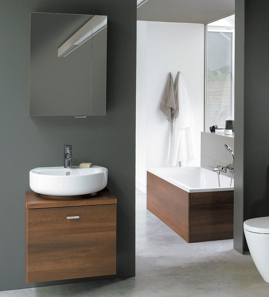 Bathroom Cabinets 55cm ideal standard concept sphere-arc wall hung basin unit 55cm-walnut