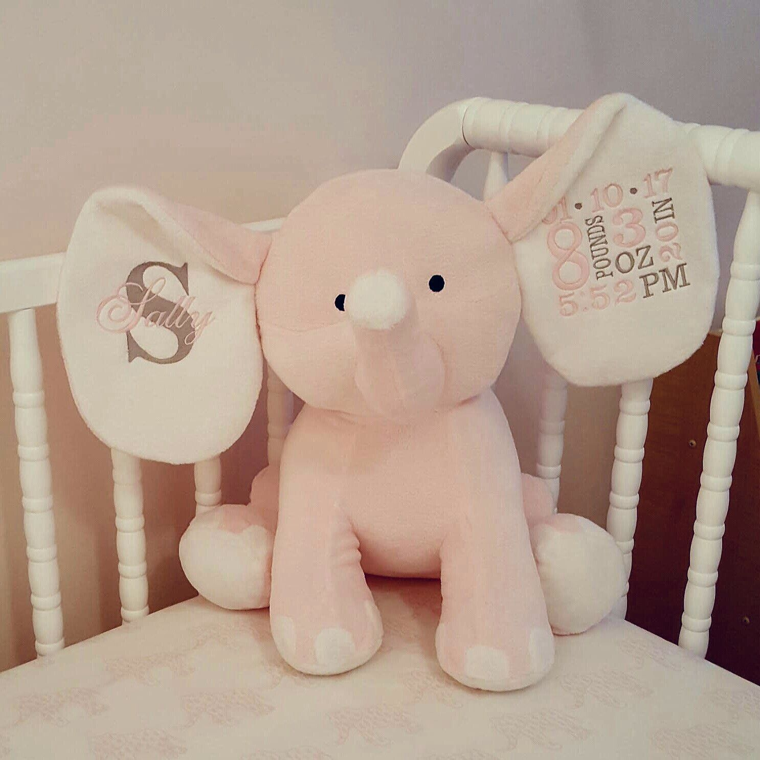Personalized plush elephant birth announcement newborn gift ideas personalized plush elephant birth announcement newborn gift ideas negle Gallery