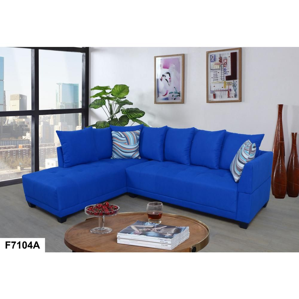 Best Star Home Living Blue Tufted Linen Right Sectional Sofa 640 x 480