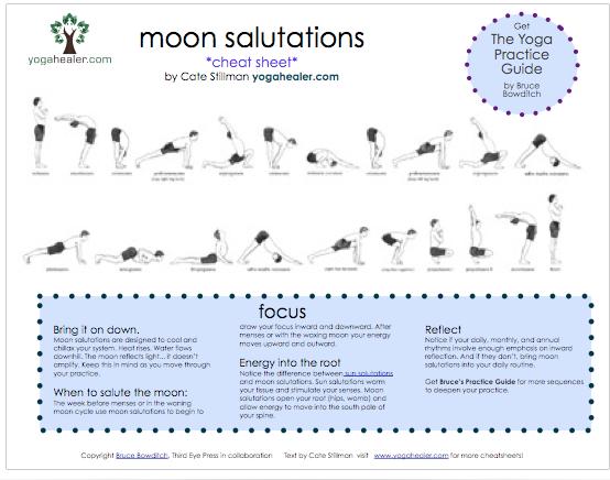 Moon Salutations Cheatsheet Yogahealer Moon Salutation Ashtanga Yoga Yoga Sequences