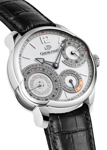 Quadruple Tourbillon Secret: Platinum case. The ultimate in refinement, the Quadruple Tourbillon Secret evokes to the passionate enthusiast the promise of an exceptional movement in which a magical mechanical ballet plays out on a hidden stage visible only through the display back. The dial side redefines the expression of telling the time with its harmonious arrangement of multiple dials. For more information, please visit: http://www.greubelforsey.com/QTD_secret.asp