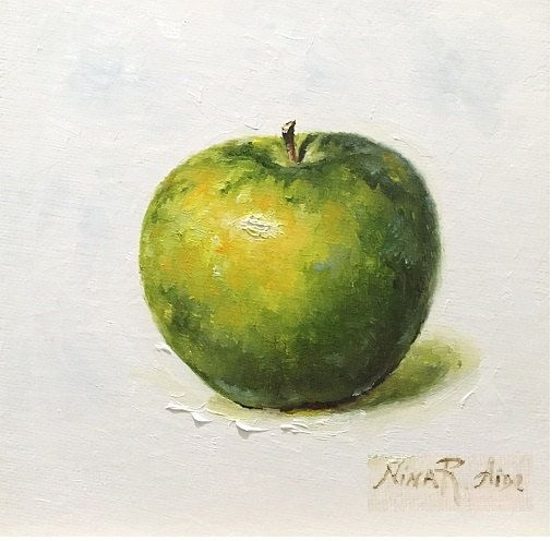 Green Apple Granny Smith Original Oil painting. Canvas 6x6. by Nina R Aide Studio #still life#apple#green#small painting#fruit