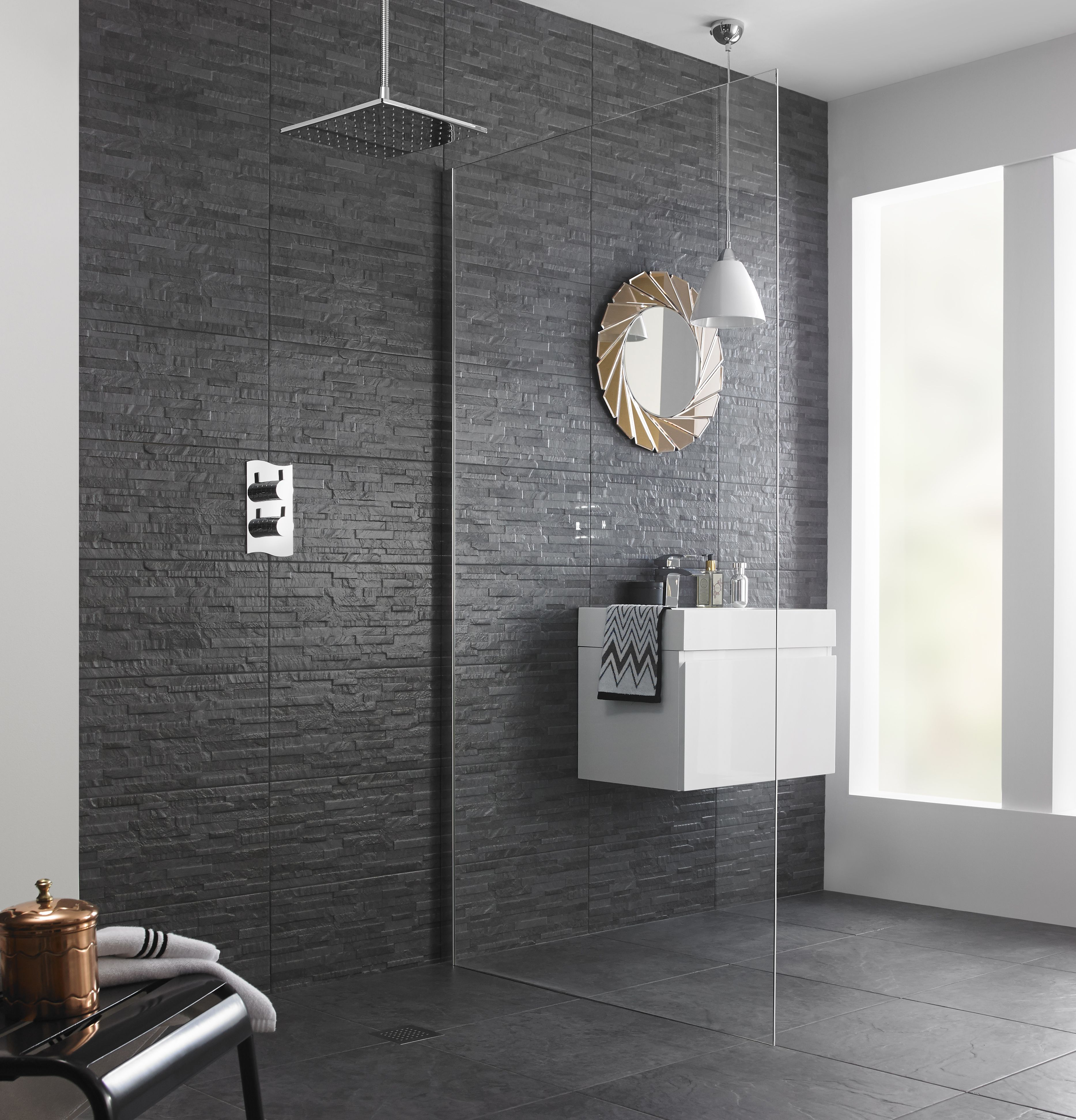 Black slate tiles for modern bathroom. Textured tiles work ...