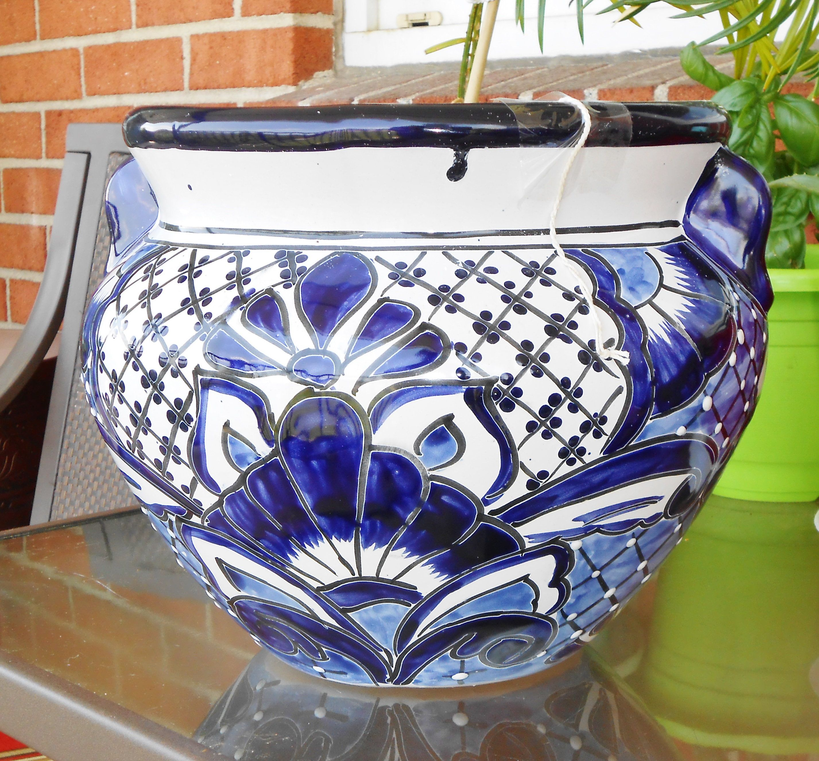 A Large Talavera Blue And White Colored Flower Pot Or