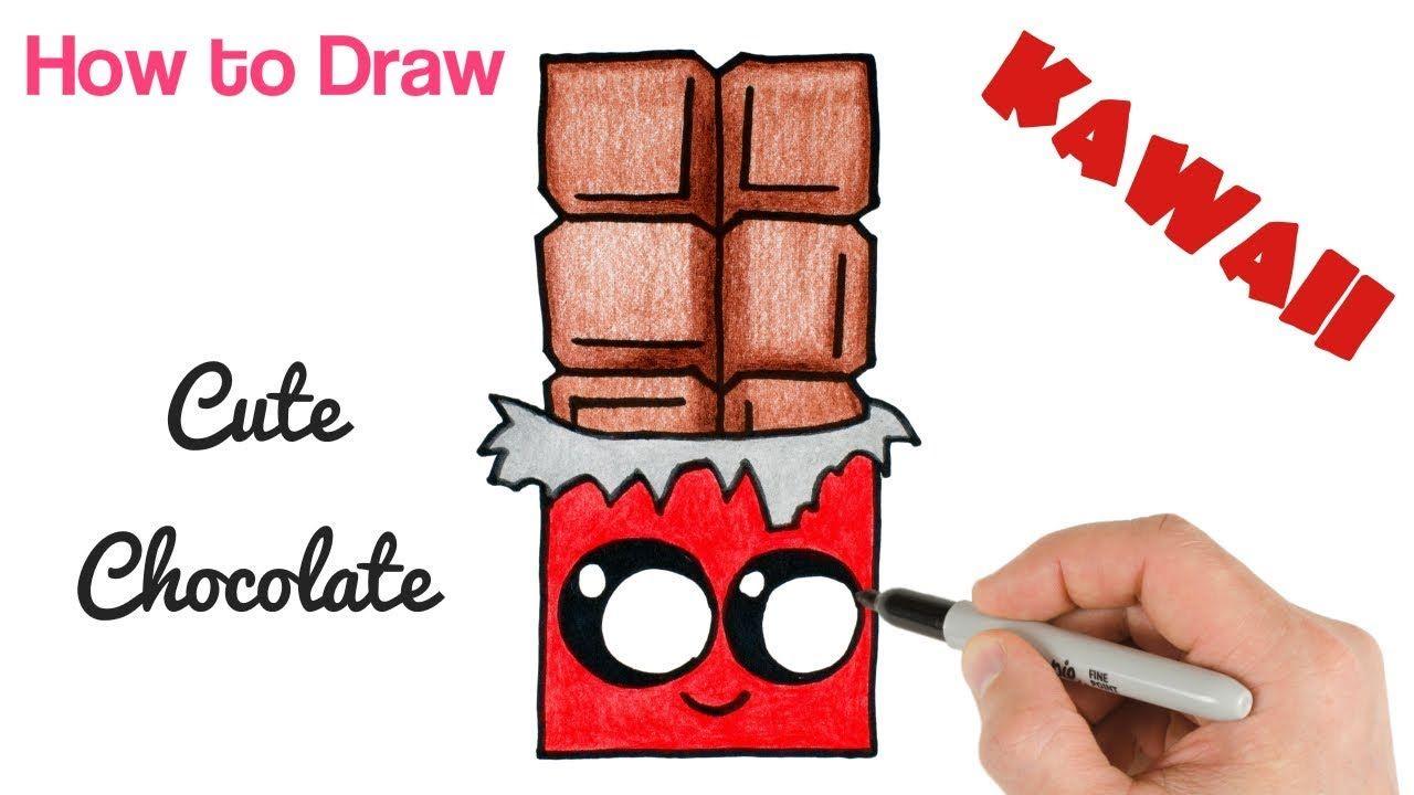 How To Draw Cute Chocolate Bar Food Kawaii Drawings Art Tutorial Cute Food Drawings Cute Drawings Kawaii Drawings