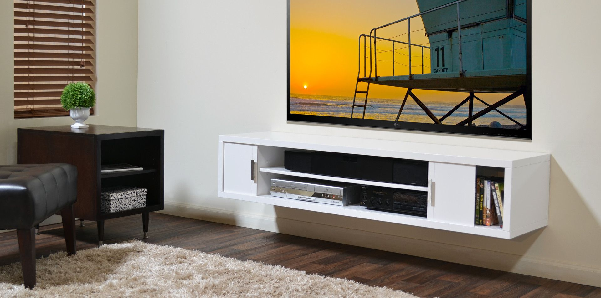tv mounting wide shelf