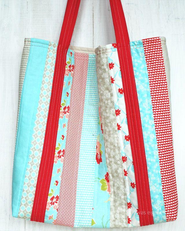 Nähanleitung: Jelly Roll Beach Bag. Eine Strandtasche aus einer ...