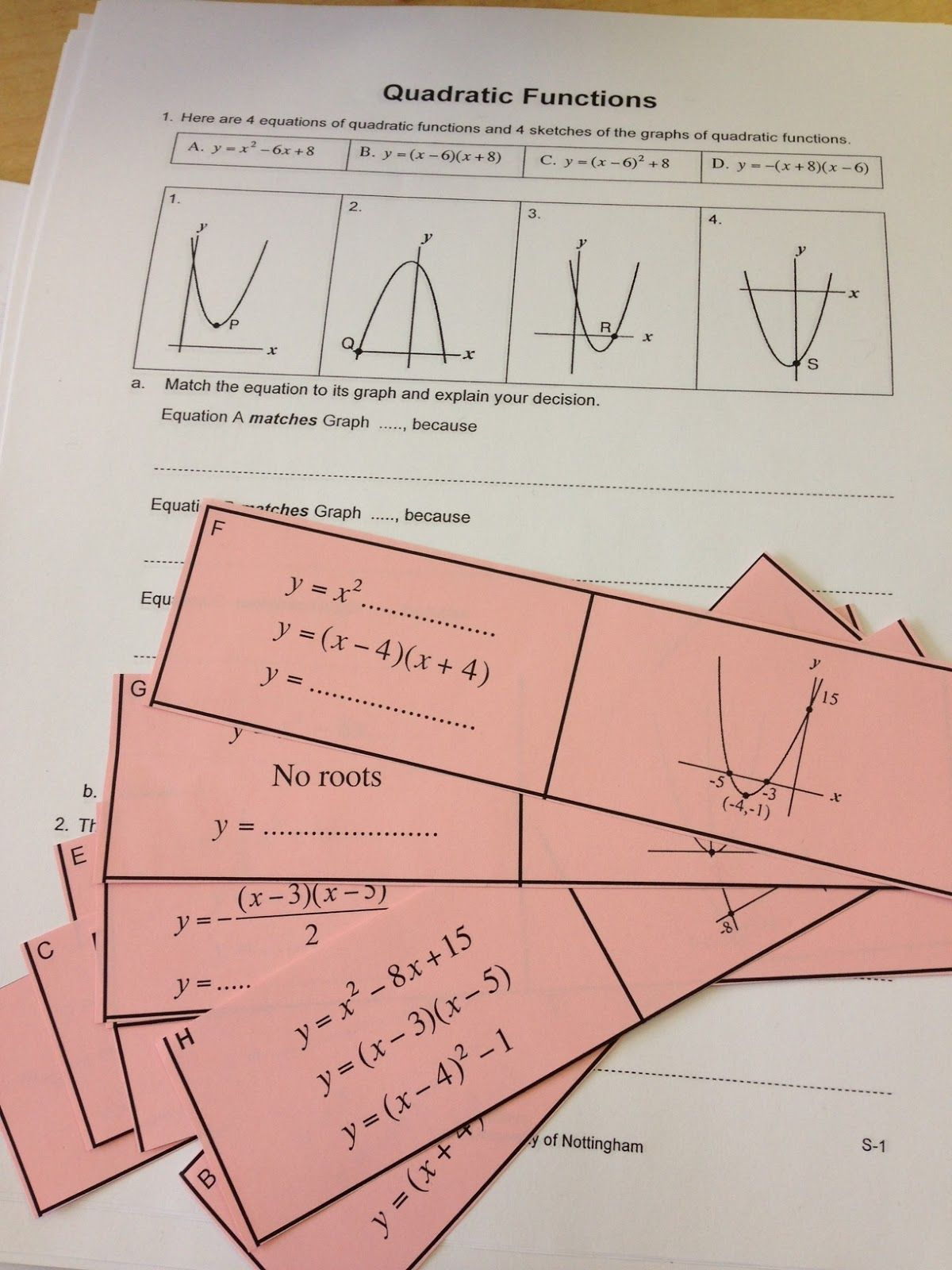 worksheet Introduction To Quadratic Functions Worksheet the secondary classroom can be fun too formative assessment school