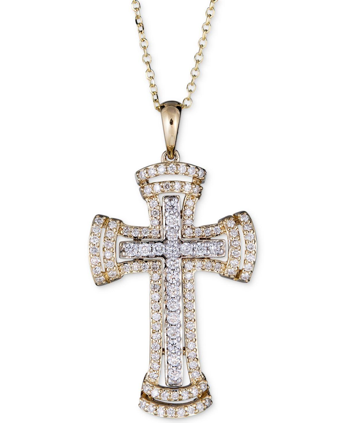 14K White Gold 1//2ct Diamond Cross Pendant Necklace
