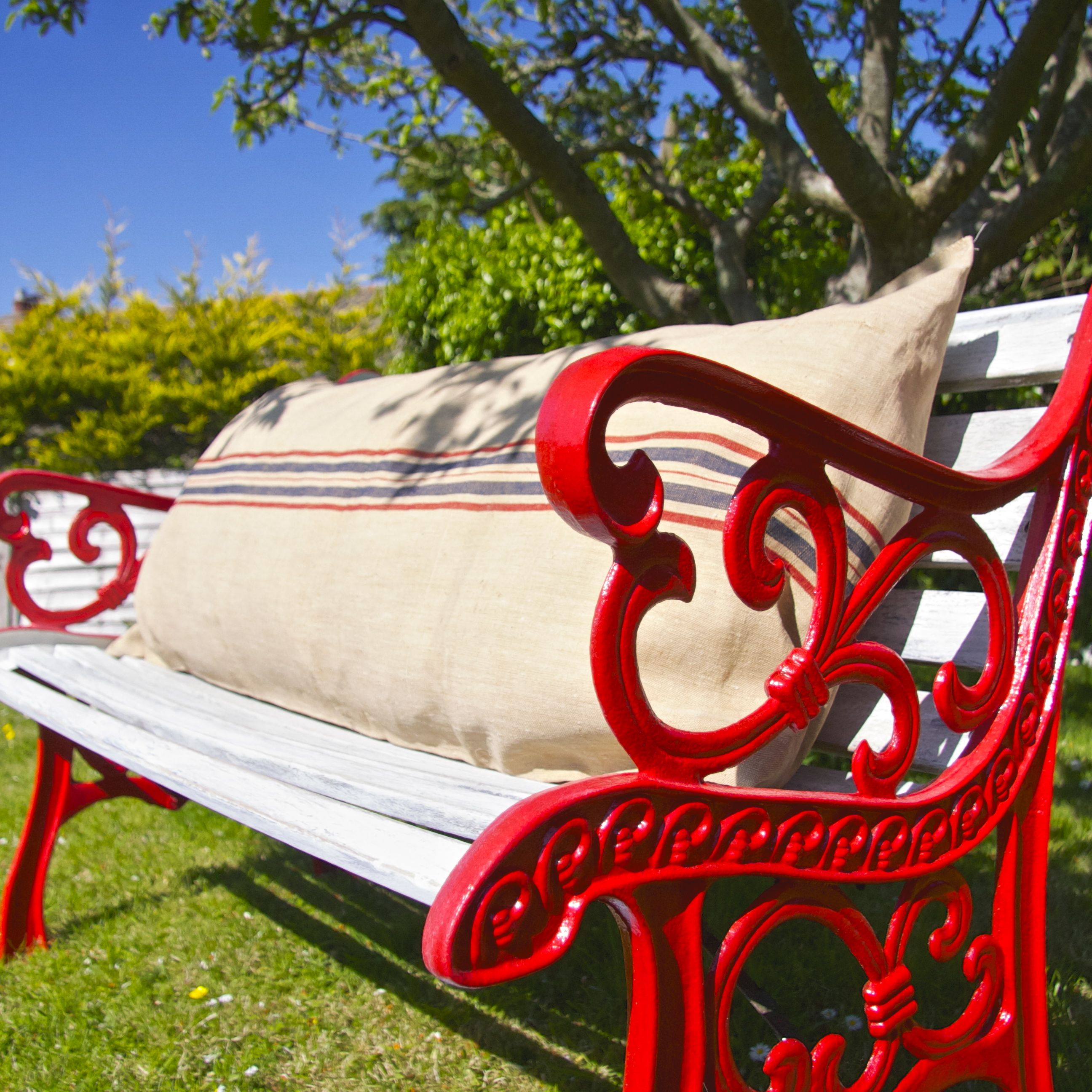 Upcycled Garden Bench Painted Red White With Authentic French Grain Sack Bolster Cushion Www Thelambshed Garden Bench Diy Garden Bench Seating Garden Bench