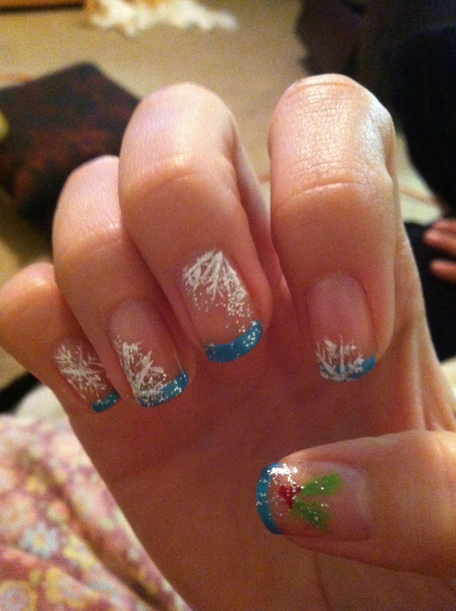 Winter snowflakes on a clear background with iceblue french tips ...