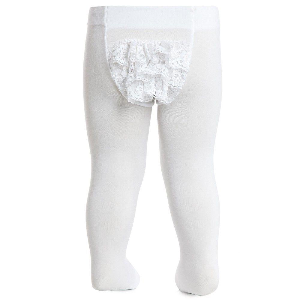 2333da5b9b1ac Baby Girls White Microfiber Tights with Ruffles | LAMIA STUFF ...