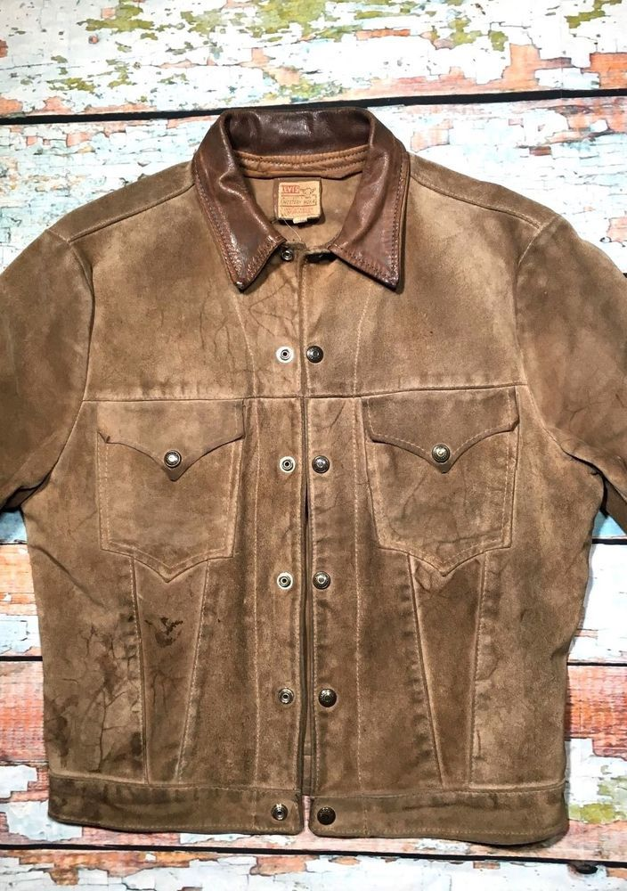 The jacket is made from thick soft light brown buckskin suede and as you can see is stained and dusty. this is an authentic 1950`s jacket not lvc replicatehe jacket is in good condition just needs sent to the dry cleaners. | eBay!