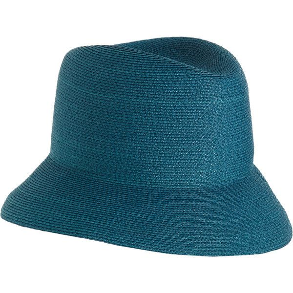 Albertus Swanepoel Teal blue Heather Fedora ($395) ❤ liked on Polyvore