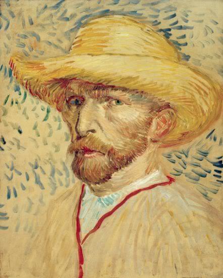8c1aedd855407 Vincent Van Gogh Autorretrato con sombrero de paja 1887 Óleo sobre cartón   41 x 33 cm