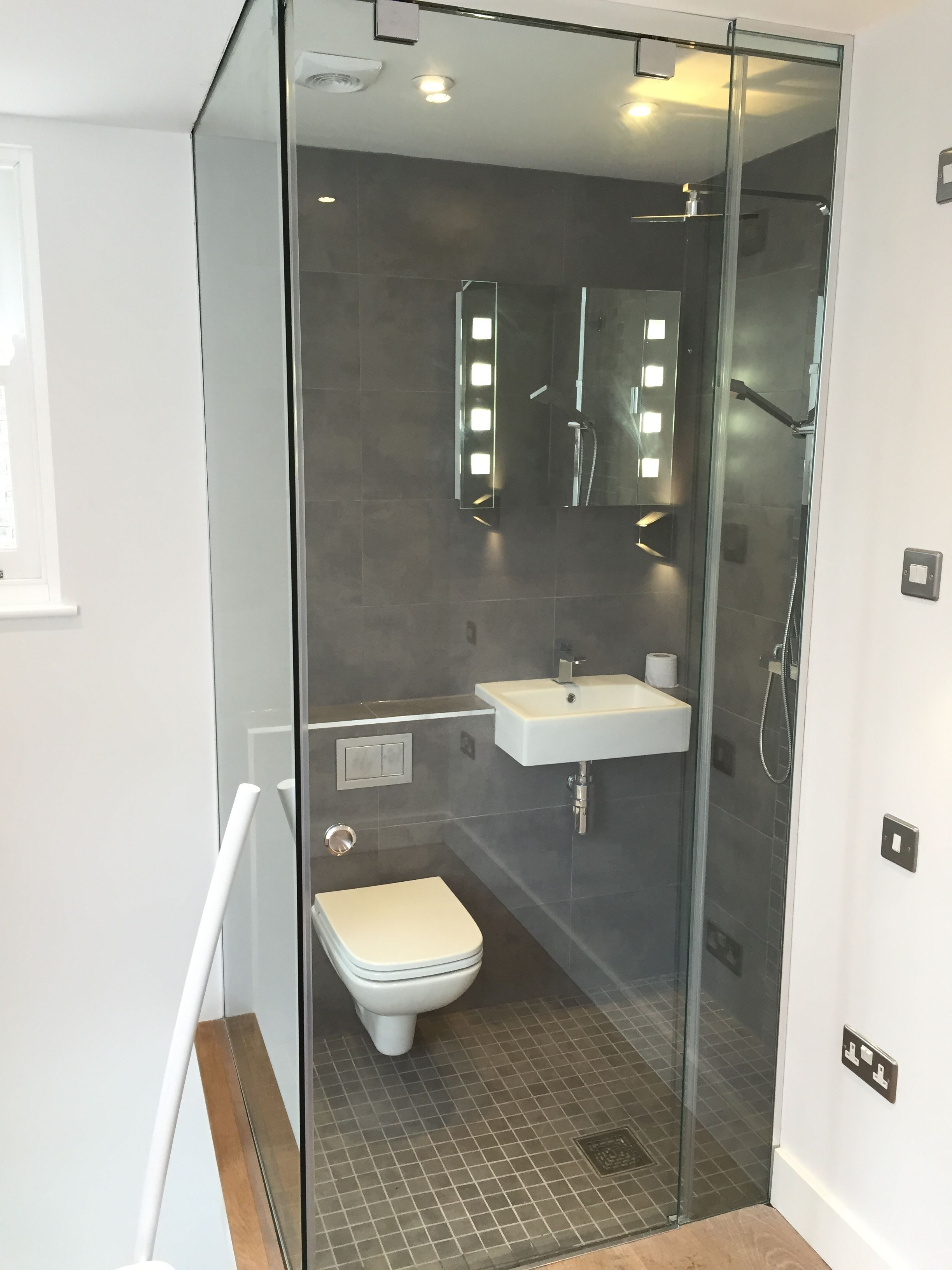 Frameless Glass Self Contained Bathroom In London Studio Apartment Hydraulic Sliding Door Glass Office Partitions Glass Partition Glass Enclosure