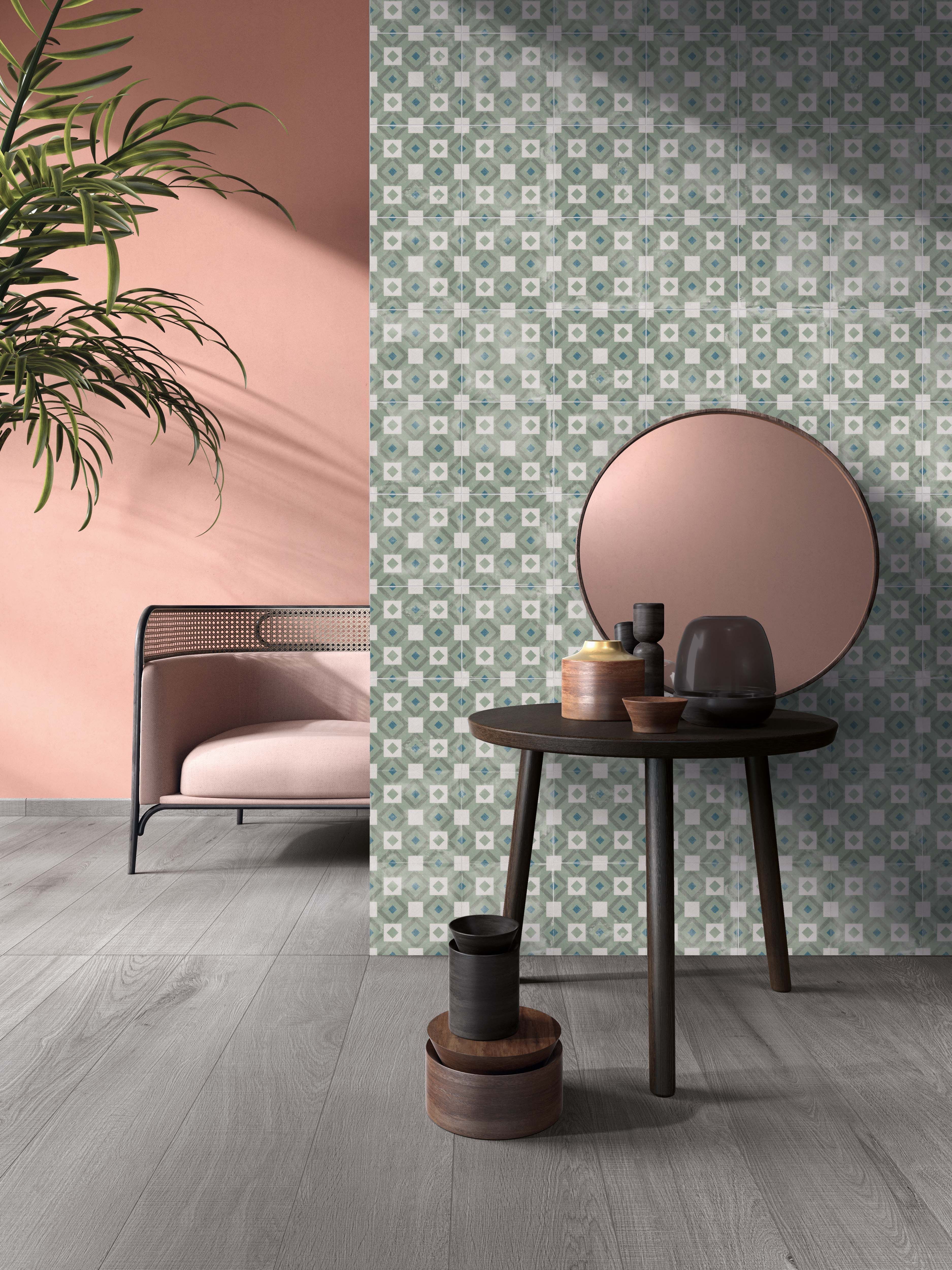 Tiles Design For Living Room Wall: Multicolor Mosaic Effect Floor & Wall Tiles For A Living