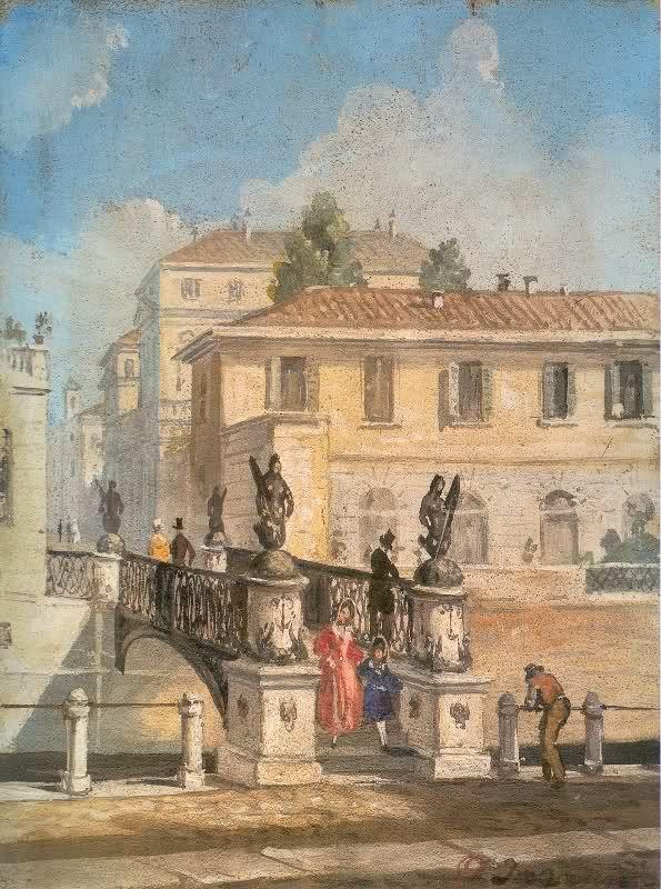 Angelo Inganni, Il ponte delle Sirenette sul Naviglio di San Damiano, collezione privata
