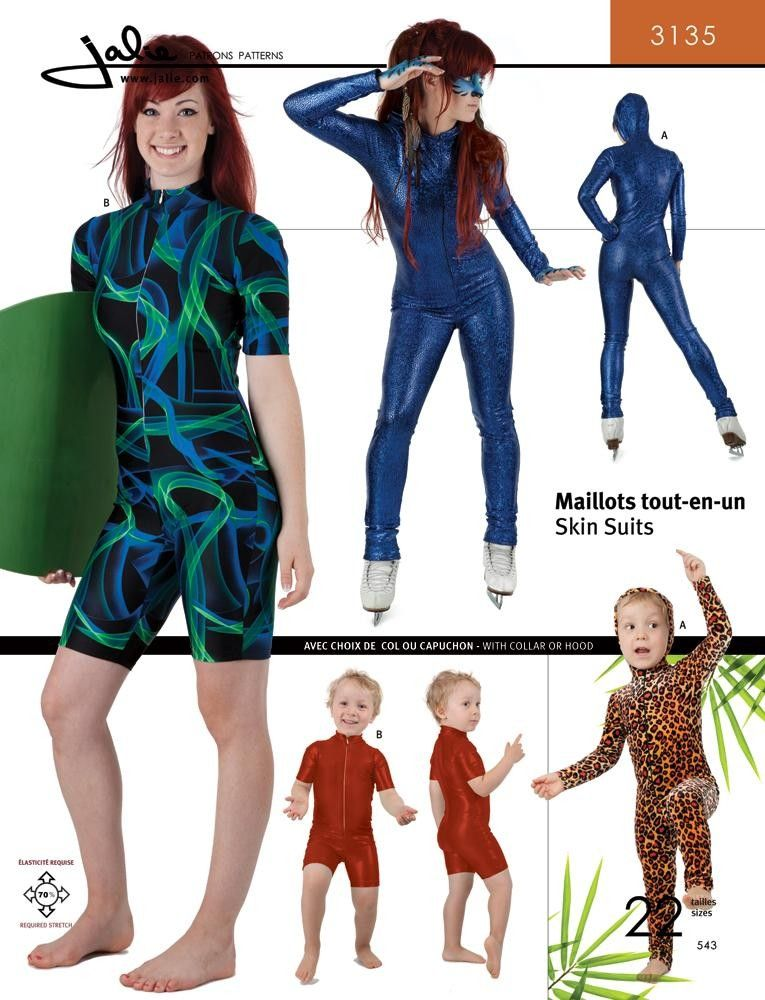 The Fabric Fairy Skin Suits Sewing Pattern by Jalie | Halloween ...