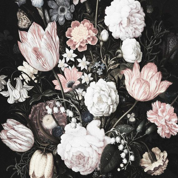 Blossoms Large Wall Mural Large Flowers Mural Dark Part 45