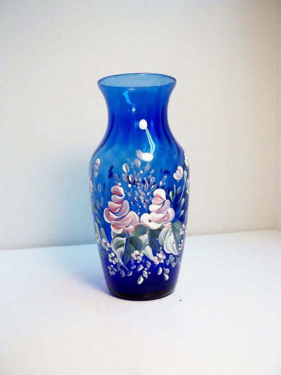 Blue Glass Vase Hand Painted Design Scandinavian Rosemaling