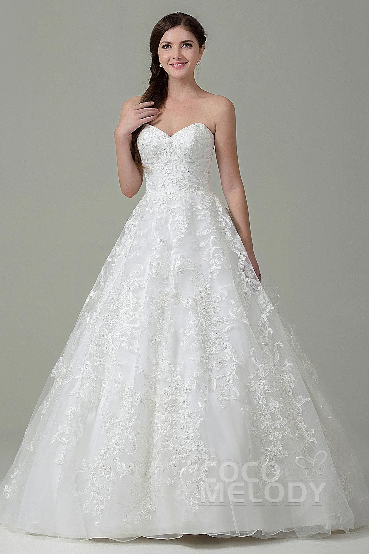 Pretty A-Line Sweetheart Natural Court Train Tulle and Lace Ivory Sleeveless Zipper With Buttons Wedding Dress with Appliques and Beading CWXT15017
