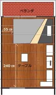 6畳にセミダブルベッドを配置するレイアウト例 レイアウト 6畳 セミダブルベッド
