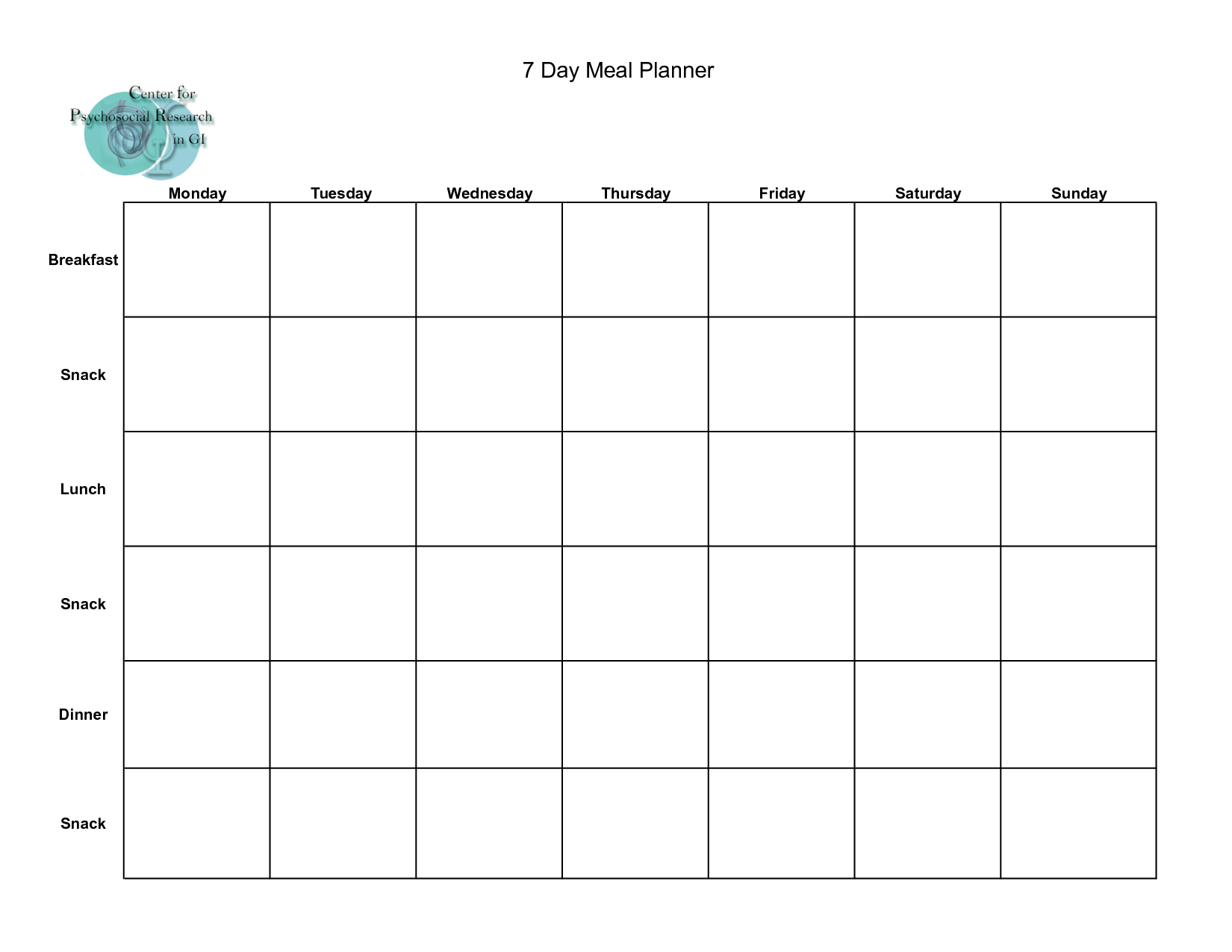 Blank Healthy Meal Planner