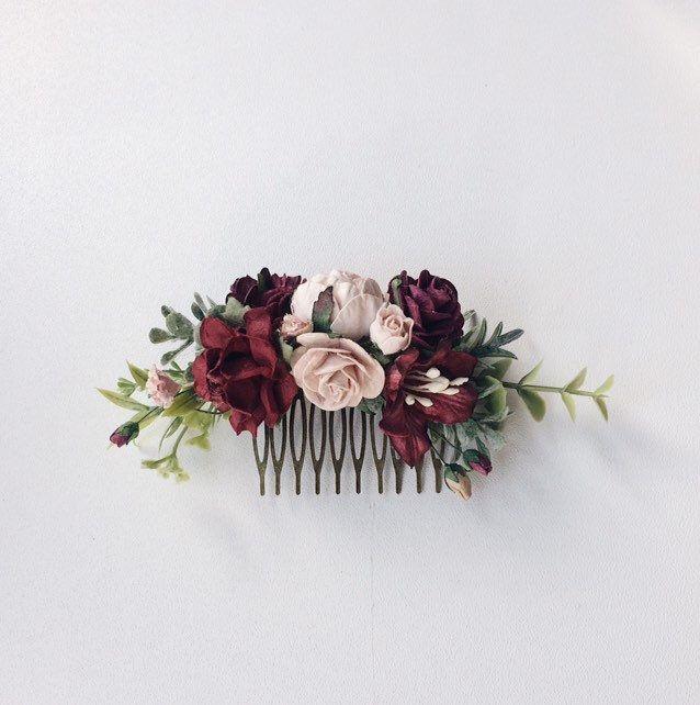 Burgundy wedding hair piece deep red flower hair clip | Etsy