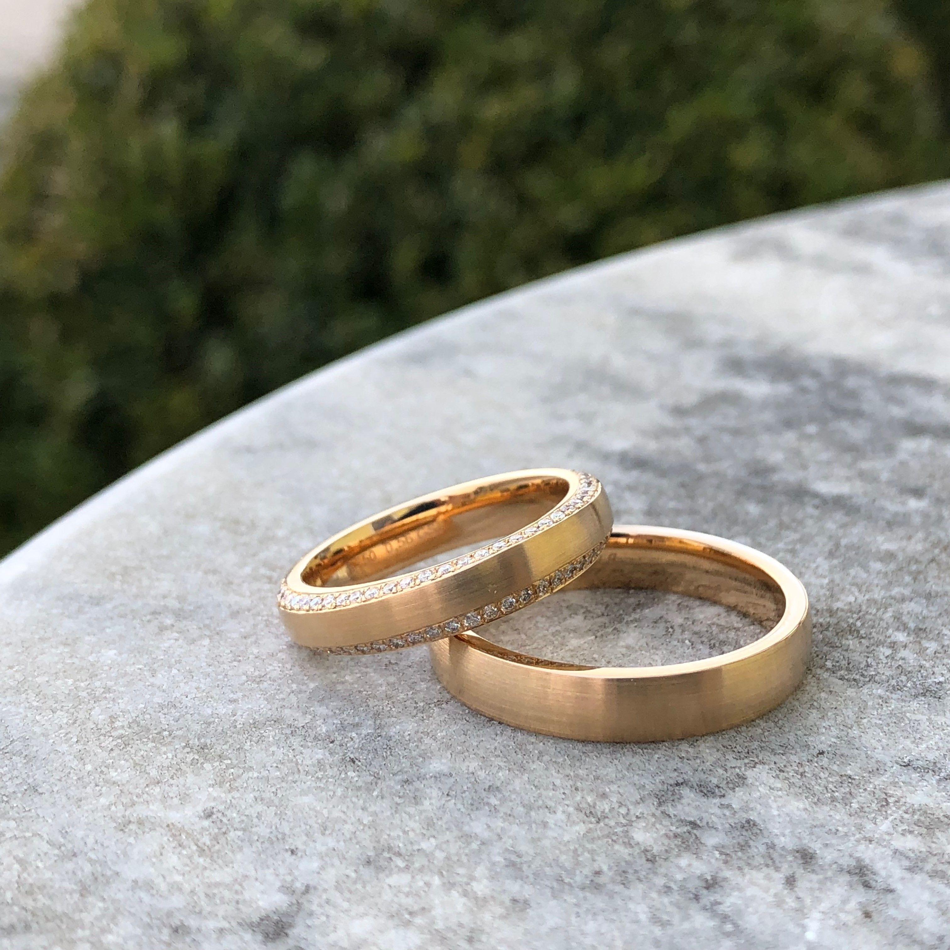 Brillante Apricotgold Trauringe Trauringe Einzigartige Trauringe Ring Verlobung