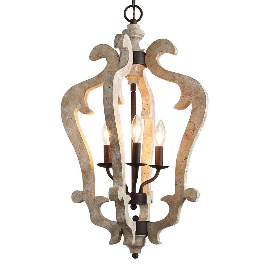Lnc Timeless 3 Light Distressed White Farmhouse Chandelier Lowes Com Bronze Chandelier Wood Chandelier Rustic Wood Chandelier