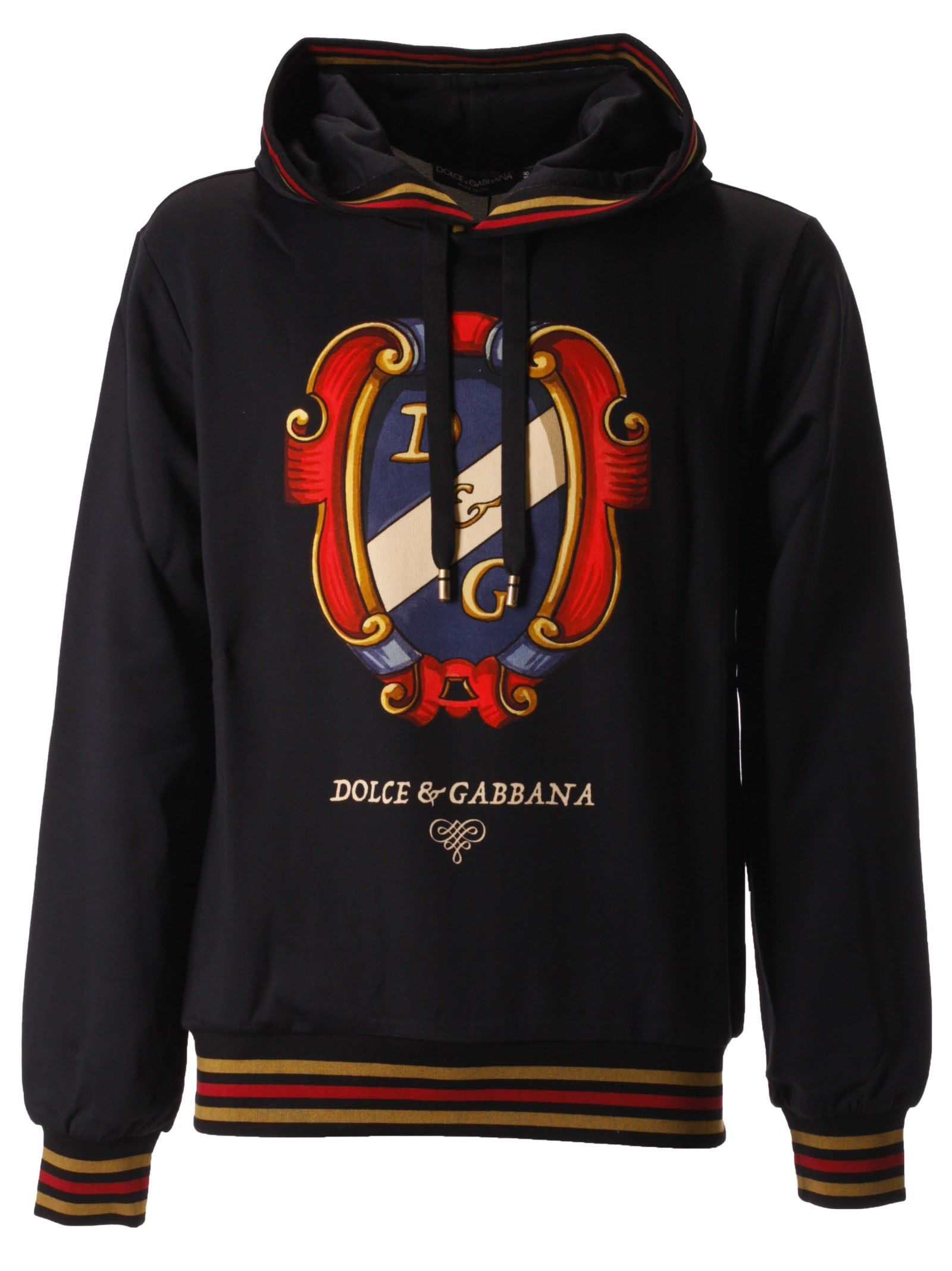 Dolce & Gabbana Printed Logo Hoodie In Black ModeSens