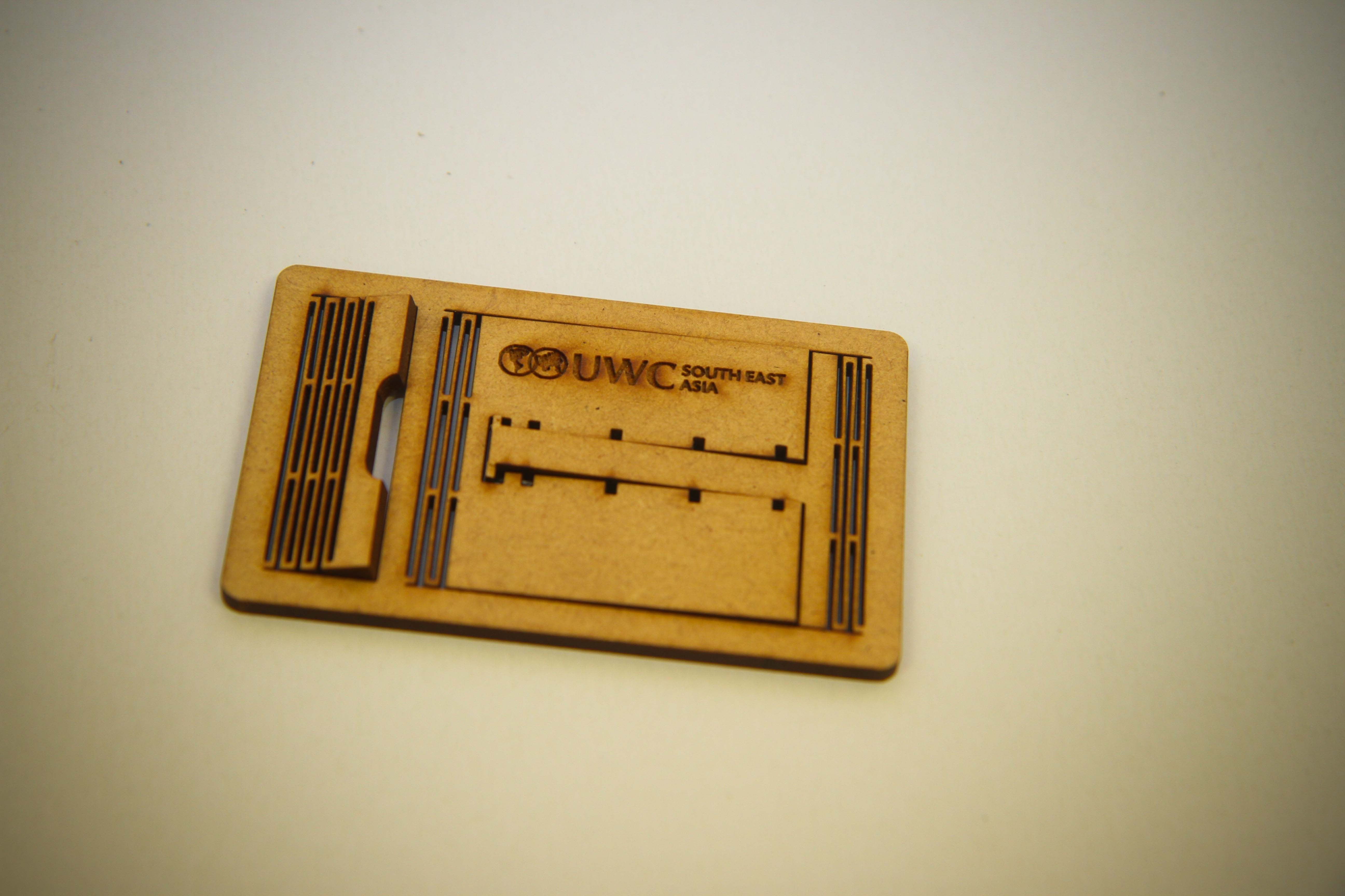 laser cut phone stand with living hinge (3mm MDF