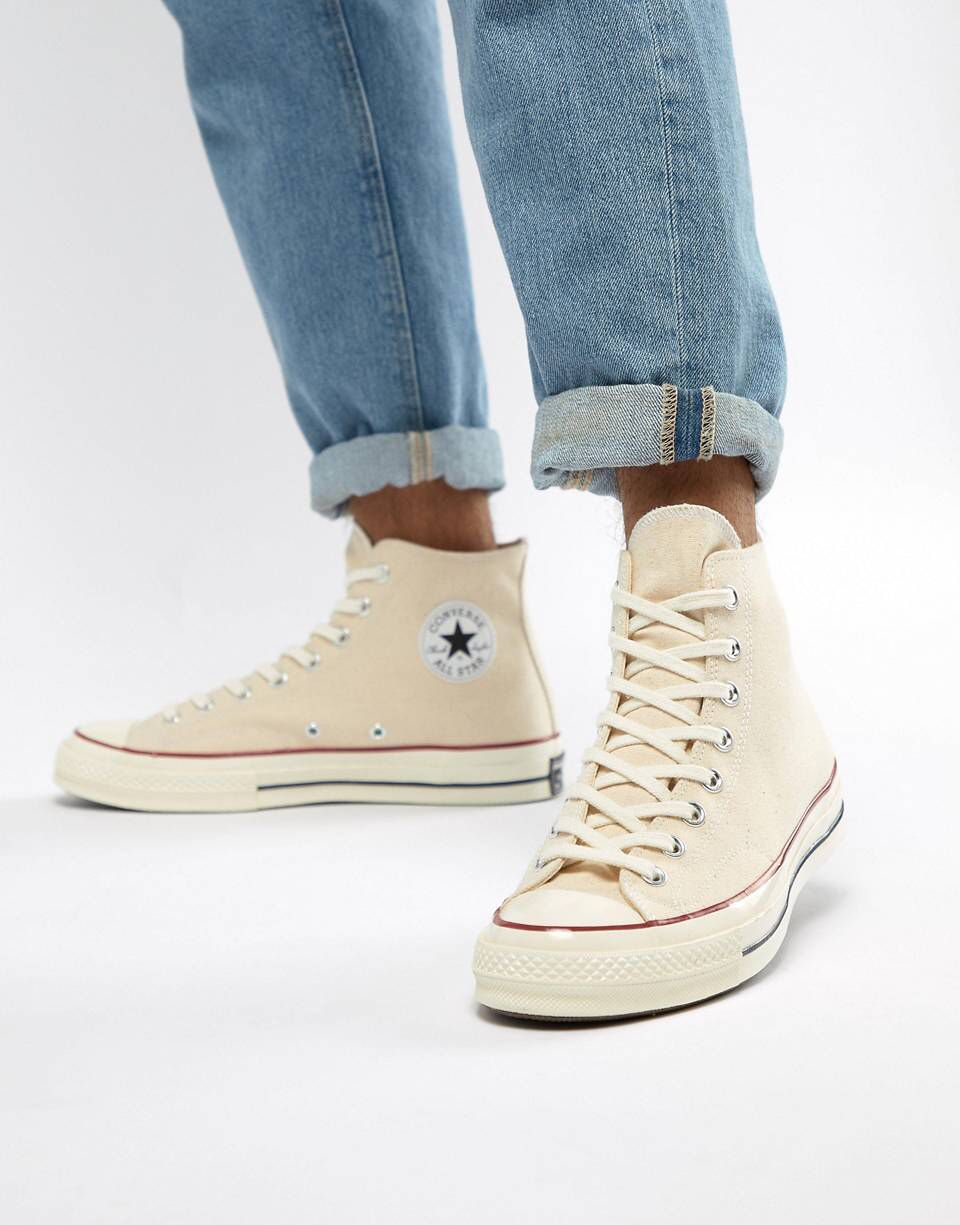 Converse Off White Chuck 70 High Sneakers in Parchment