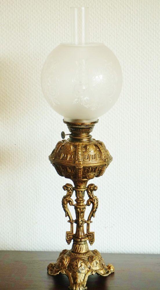 Antik Petroleumlampe 1880-1900 elektrifiziert Alte Tischlampe Stehlampe 68 cm h