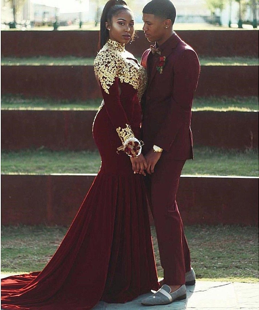 39a2041841f Classy Red Velvet Prom Dress Idea for Sweet Couple