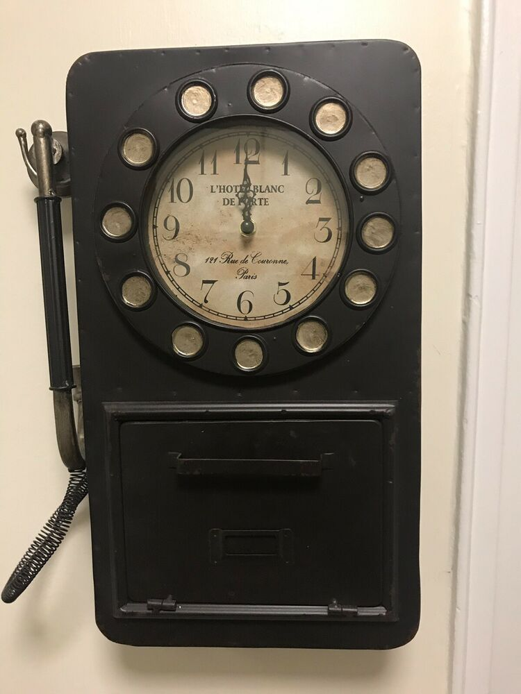 Rotary Phone Wall Clock With Hidden Storage Compartment Fashion Home Garden Homedcor Clocks Ebay Link Hidden Storage Wall Clock Rotary Phone