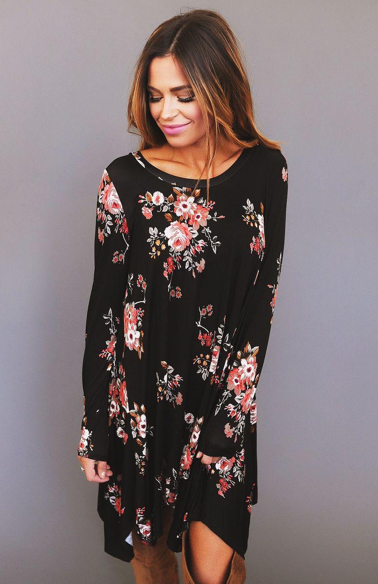 5d398d854fd Black Red Floral Print Tunic - Dottie Couture Boutique