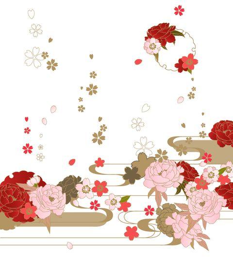 「フリー素材52 桜と牡丹に流水」/「模様田@更新終了」の漫画 ...
