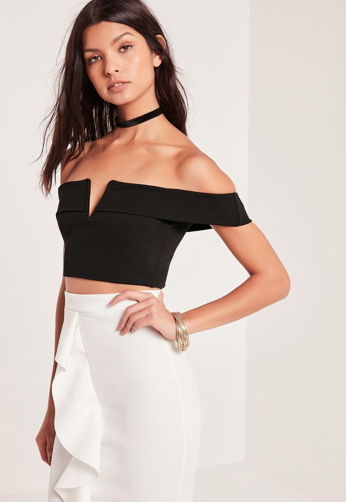 8cf59bc49d2a27 Missguided - V Bar Bardot Crop Top Black