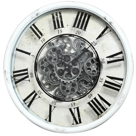 Vintage Gear Wall Clock Roman Numerals Gears Black And