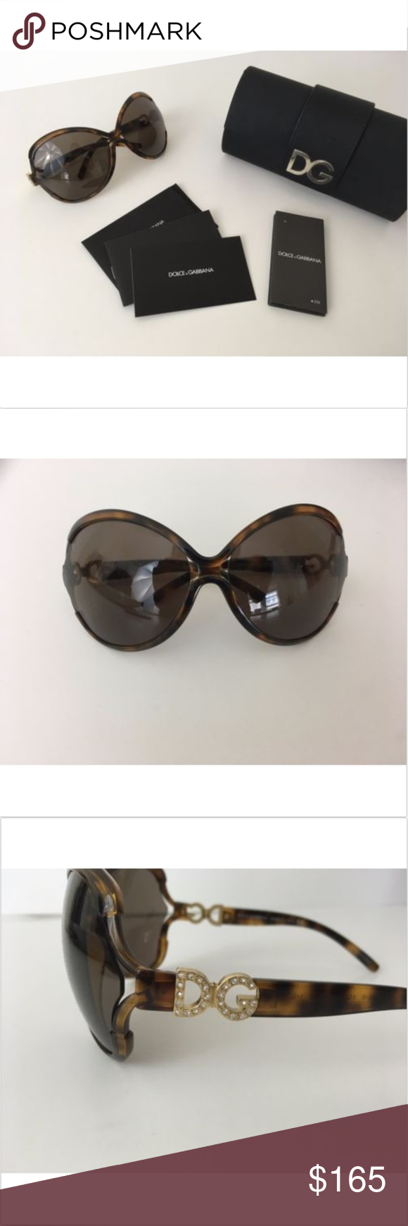 8d8780a48f28 PRICE DRP $165 Dolce Gabbana Sunglasses Crystal Beautiful Dolce & Gabbana  sunglasses Features crystal DG logo on temples Comes with case and cards.