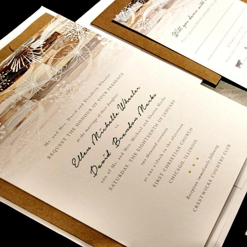 Rustic Snowflake Wood Winter Country Custom Wedding Invitation Snow ...