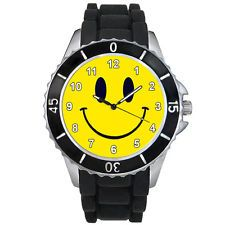 joe boxer smiley face watch   Happy Smiley Face Fashion Mens Ladies Black Jelly Silicone Wrist Watch ...